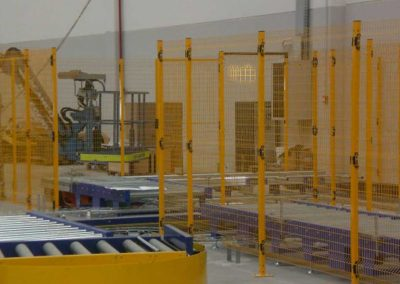 perimeter fencing in a warehouse